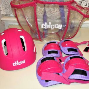 Girl's CHICCO Pink/Purple Helmet Knee/Elbow Pads + Clear Backpack. This is never used. Purchase and stored. Smoke Free. Bristol Boro, Pa. 19007 for Sale in Bristol, PA