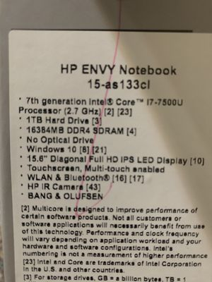 HP ENVY NOTEBOOK 15-as133cl 7th generation I7 touchscreens I Bought From Costco It's In New Condition I'm Mac User Used Barley for Sale in Santa Clara, CA