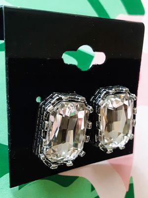 New nickelfree lead-free silvertone faux diamond acrylic stud earrings for Sale in Fullerton, CA