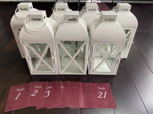 7 White Lanterns and Table Card Numbers for Sale in Ypsilanti, MI