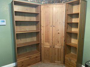 Corner Computer Cabinet & Bookshelves for Sale in San Bernardino, CA