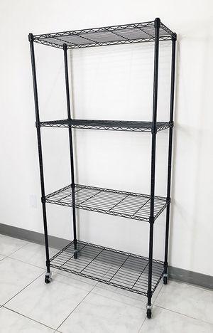 "Brand new $50 Metal 4-Shelf Shelving Storage Unit Wire Organizer Rack Adjustable w/ Wheel Casters 30x14x61"" for Sale in Santa Fe Springs, CA"