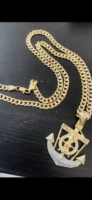 14k gold 8mm 24 inch cuban chain and anchor charm for Sale in Tampa, FL