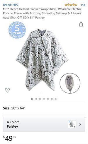 MP2 Fleece Heated Blanket Wrap Shawl, Wearable Electric Poncho for Sale in Las Vegas, NV