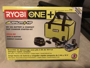 Ryobi 18-Volt One+ Lithium+ HP 3 Ah Battery (2-pack) Starter Kit with Charger and Bag for Sale in Phoenix, AZ