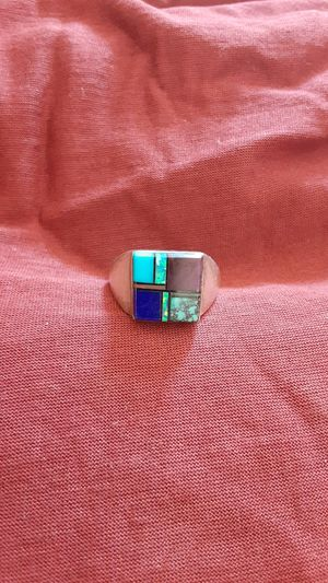Stunning vintage inlaid native American sterling ring signed uni-sex for Sale in Phoenix, AZ