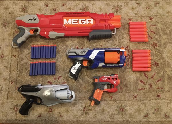 Nerf gun lot with Double Breach, Strongarm, Big Shot, and more