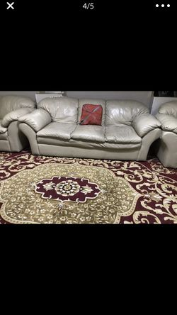 4 leather couches, 1 with pull out bed and new queen size mattress for Sale in Sterling Heights,  MI