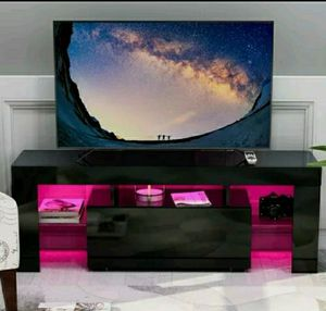 Modern High Gloss TV stand/ Entertainment stand/ TV console/Wall unit/Soporte TV with L.E.D lights shelves. for Sale in Fort Lauderdale, FL
