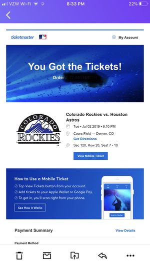 Rockies tickets to fire work game for Sale in Greeley, CO