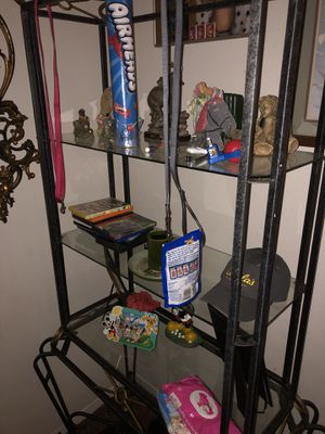 Shelf with glass and small table! for Sale in Oklahoma City, OK