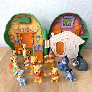 Vintage 1990s Disney's Winnie The Pooh 100 Acre Woods Mr Sanders Tree House Playset And Figurine Toy Lot, Pooh, Tiger, Rabbit And Eeyore for Sale in Elizabethtown, PA