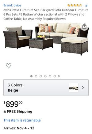 Brand New Patio Furniture Set, Backyard Sofa Outdoor Furniture 6 Pcs Sets,PE Rattan Wicker sectional with 2 Pillows and Coffee Table, No Assembly Re for Sale in Corona, CA