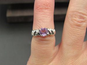 Size 4.5 10K Gold Purple Amethyst Heart Band Ring Vintage Estate Wedding Engagement Anniversary Gift Idea Beautiful Elegant Unique Cute Cool for Sale in Lynnwood, WA