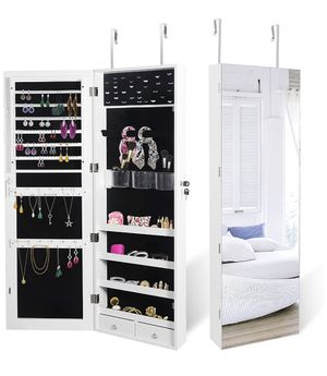 New Jewelry Armoire Cabinet Door Wall Mounted Lockable Hanging Jewelry Box Organizer with Mirror for Sale in Pico Rivera, CA