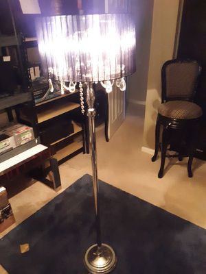 SLEEK LOOKING CRYSTAL LOOK CHROME FLOOR LAMP....AND NO, NOT REAL CRYSTALS....BLACK SHADE MATERIAL IS NYLON... RETAILS NEW FOR 189.95 PRICE IS FIRM for Sale in Elgin, IL