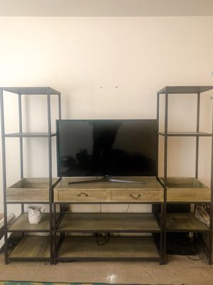 3-piece Rustic Industrial Media Console with Two Towers for Sale in Bakersfield, CA