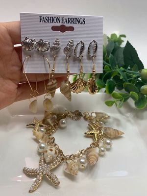 Fashion Bohemian Conch Shell Drop Earrings Set (6 Pairs) and Bracelet for Sale in Tustin, CA