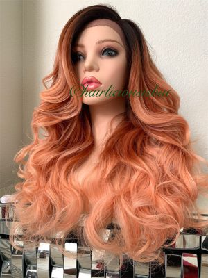 Orange wig ombré dark roots wavy layered heat resistance ok premium synthetic high temperature fiber 24 inch long wavy layered super soft wig just li for Sale in Las Vegas, NV