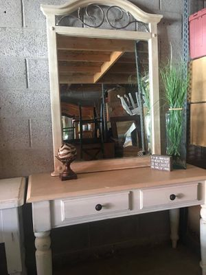 White entrance table with mirror for Sale in Salt Lake City, UT