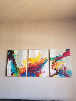 Abstract art set of 3 painting for Sale in Miami, FL