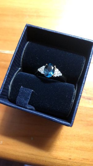 Gold plated blue topaz ring size 7 for Sale in East Lyme, CT