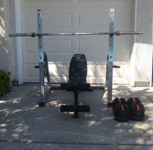 Powerhouse rack, adjustable bench, 50 lb Bowflex, Olympic bar, 100 lbs for Sale in Elk Grove, CA