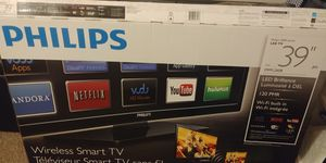 """PHILIPS 39"""" SMART TV WITH TV BOX AND REMOTE for Sale in Wichita, KS"""