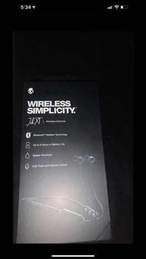 SKULLCANDY SIMPLICITY JIB XT WIRELESS EARBUDS BLACK NEW 6 HOURS BATTERY LIFE for Sale in McHenry, IL