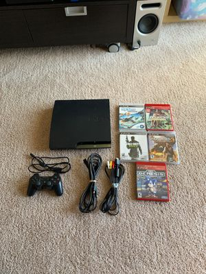 PS3 all cables 1 control 5 games 2 mortal kombat toys for Sale in Sterling, VA