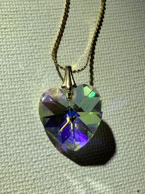 Brilliant Heart Shapes Crystal Charm on Gold Tone Necklace for Sale in Loma Linda, CA