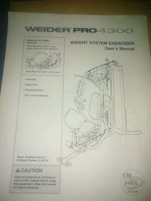 WEIDER PRO 4300 (WEIGHT SYSTEM EXERCISER. MODEL # 831.14622.1 for Sale in Northwest Plaza, MO
