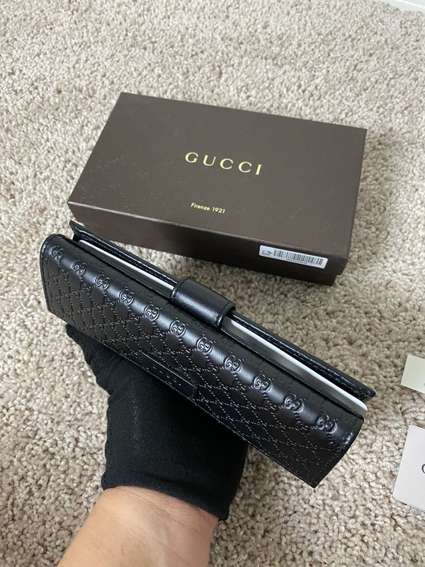 BNWT Authentic Gucci Microgussima Long Wallet Black