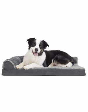 Large-Plush Orthopedic Sofa ,L-Shaped Chaise Couch, Ergonomic Contour Mattress, & Long Faux Fur Calming Donut Dog Bed for Dogs & Cats for Sale in La Puente, CA