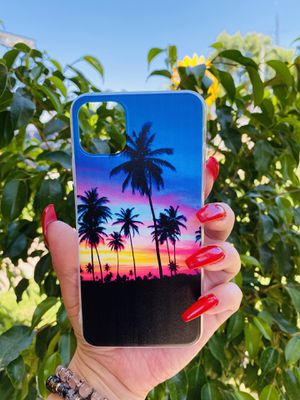 Brand new cool iphone 11 PRO MAX 6.5 case cover phone case rubber sunset palm trees girls guys mens womens skate skateboard swag brands hype hypebeas for Sale in Highland, CA