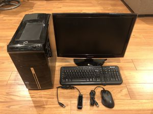 Computer Bundle (Desktop, HD Monitor, Gaming Mouse, Wireless Adapter) for Sale in Hanover Park, IL