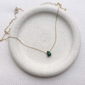 Genuine Emerald Necklace, Gold Emerald Necklace, May Birthstone, Gift for Her, Dainty Necklace, Tear for Sale in Framingham, MA