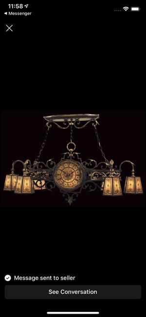Vintage Fine Art Lamps Charred Iron Epicurean Chandelier, 6 Light with Clock for Sale in Tampa, FL