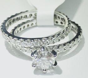 Diamond Eternity Engagement Ring Wedding Anniversary Set 1.65 Carats Center D Color VS Platinum Gemological Lab Appraisal $8000 Now $3960 for Sale in Fort Lauderdale, FL