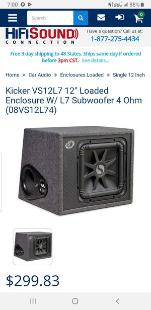 "Kicker VS12L7 Subwoofer enclosure 750rms 12"" for Sale in Virginia Beach, VA"