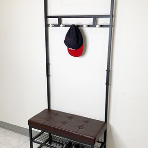 "(NEW) $35 Entryway Metal Shoe Rack w/ 28""x13"" Bench Seat and 71"" Tall Coat Hanger Storage for Sale in South El Monte, CA"