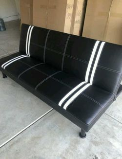 Brand New Black Striped Leather Tufted Futon for Sale in Puyallup,  WA