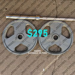 7-ft Olympic Barbell & Olympic Weight Plates for Sale in Glendale,  CA