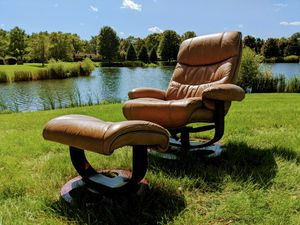 Leather Recliner and Ottoman (Styled After Ekornes Stressless) for Sale in Joliet, IL