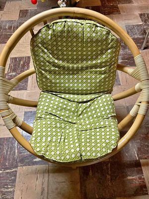 of two Vintage rattan bamboo swivel chairs with original cushions for Sale in Hoffman Estates, IL