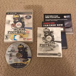 NCAA Football 14 ps3 playstation 3 case manual disc complete RARE clean works great college sports for Sale in Burtonsville, MD