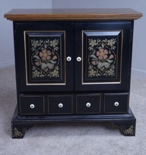 *SALE* Beautiful 1970's Ethan Allen Hitchcock Black Hand Painted floral Cabinet And Matching Mirror for Sale in CANAL WNCHSTR, OH