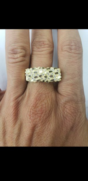 Mens 10k Yellow gold nugget ring with cz stones sz10 for Sale in Los Angeles, CA