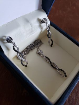 Simulated Black and White Diamond Earrings and Necklace for Sale in Stafford, CT