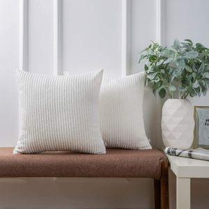 Ashler Set of 2 Soft Plush Velvet True White Striped Corduroy Throw Pillow Cushion Cover 20 x 20 inch for Sale in Phoenix, AZ